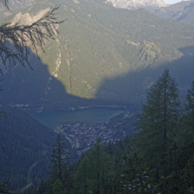 Looking Down to Lake Alleghe during the ascent to the start of the Via Ferrata