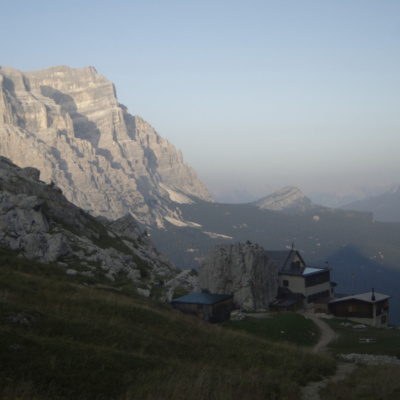 Looking past Rifugio coldai to Pelmo in the early evening
