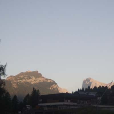 Golden tip of Marmolada in the golden light of dawn