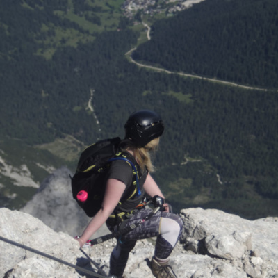Emily taking a well deserved rest on the Via Ferrata and enjoying the view looking back