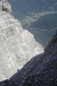 Looking back halfway up the Via Ferrata