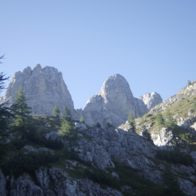 The peaks of Civetta in the distance while ascending to the start of the Via Ferrata