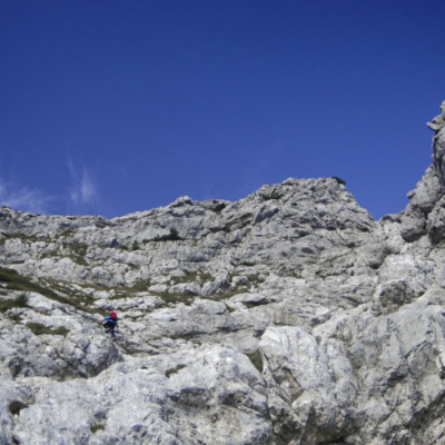 An uncabled scrambling section during the Via Ferrata Alleghesi