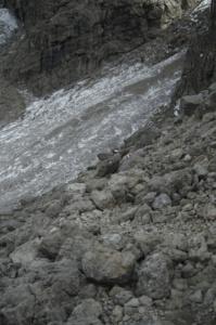 Scree slopes and snow along path 666