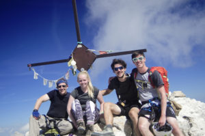 Photo of us at the summit From Right to Left: Greg, Josh, Emily and myself