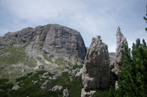 The Pinnacles with Sella in the distance, where we would be walking to, roughly