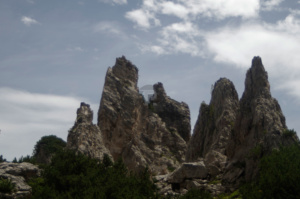 The fingers of rock jutting out that are the Pinnacles