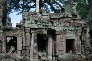 Partially collapsed corridor in the middle of Ta Prohm