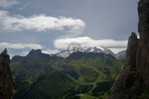 First real sight of Marmolada poking her head out from behind the Porte Vescovo Ridge