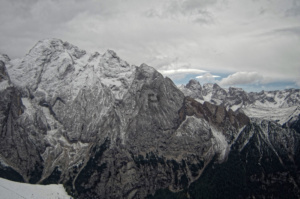 The right hand side of Marmolada with a dramatic view into the valley