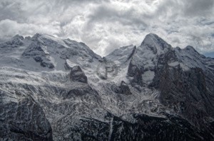 Marmolada in her full glory with dramatic clouds above