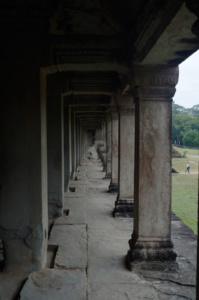 Columns in the open gallery