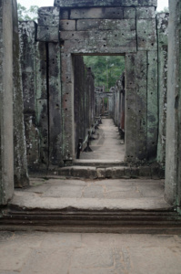Another empty corridor in the Bayon temple, once though to have been covered by wood