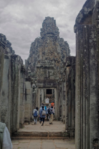 Bayon tower from a corridor below