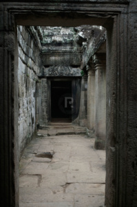 Empty corridor in the Bayon Temple
