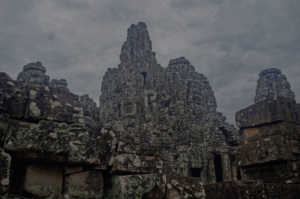 The central tower seen through the outer ruins of Bayon temple