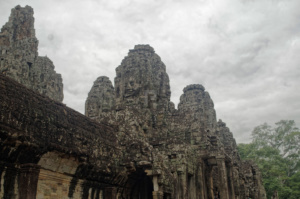 Bayon temple seen from the corner with the outer gallery